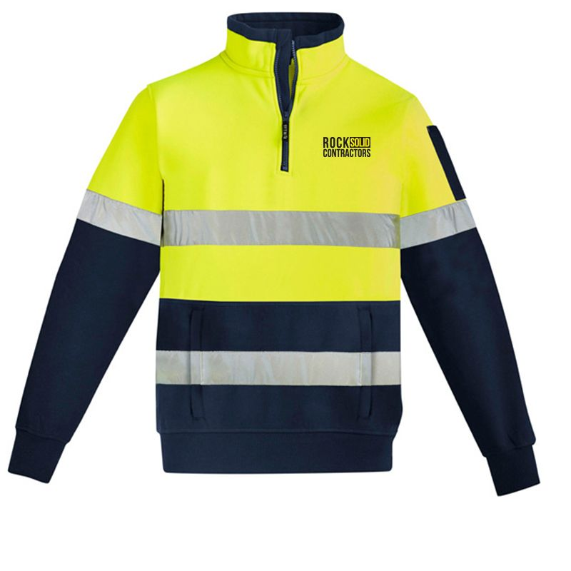 ZT567 1/4 Zip Branded Hi Visibility Jumpers With Reflective Tape