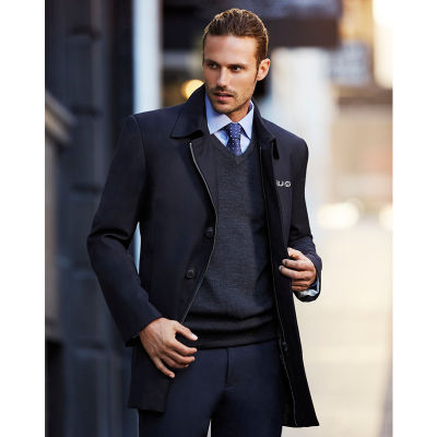83830 Mens Lined Car Coat Embroidered Overcoats