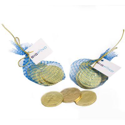 CC011B $1 Milk Promo Chocolate Coins In Mesh Bag (6)
