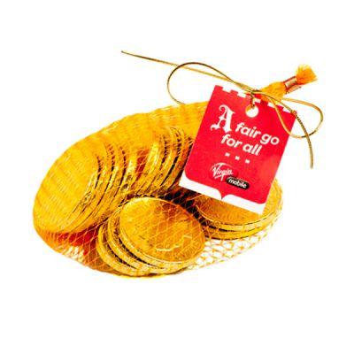 CC011D2 Mixed Denomination Australian Milk Branded Chocolate Coins In Gold Mesh Bag - 80g