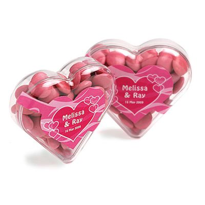CC030B1 Smarties Look-Alike (Mixed Colours) Filled Branded Hearts - 50g