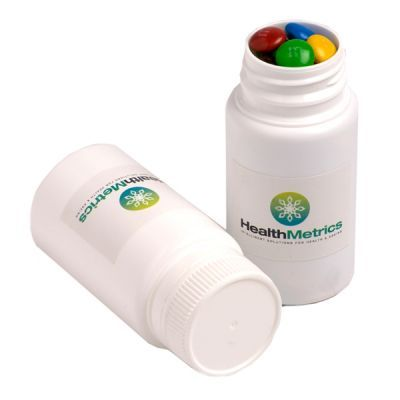 CC032D Mini M&M Filled Custom Pill Jars - 120g