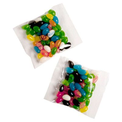 CC033C2 Jelly Bean (Mixed Or Corporate Colours) Filled Logo Lolly Bags With Sticker - 50g