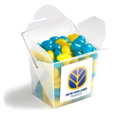 CC043A Jelly Bean (Mixed Or Corporate Colours) Filled Frosted Custom Noodle Boxes -100