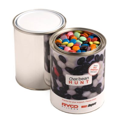 CC044G Smarties Look-Alike Filled Corporate Paint Tins - 1Kg