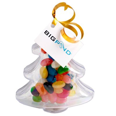 CC055A2 Jelly Bean (Mixed or Corporate Colours) Filled Custom Trees With Tag Attached - 50g