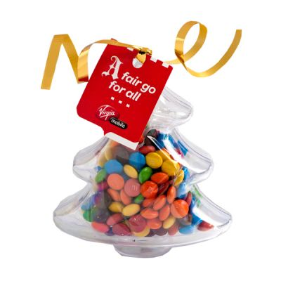 CC055B2 M&M (Mixed or Corporate Colours) Filled Promotional Trees With Tag Attached - 50g