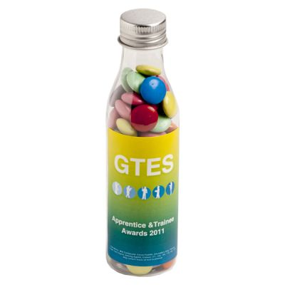 CC057C1 Smarties Look-Alike (Mixed Colours) Filled Branded Soft Drink Bottles - 100g