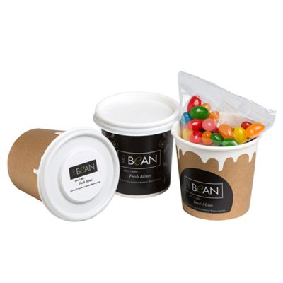 CC064A3 Jelly Bean Filled Logo Coffee Cups With Wrap Around Sticker - 50g