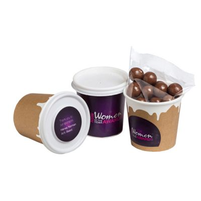 CC064E4 Chocolate Coated Coffee Beans Filled Branded Coffee Cups With Wrap Around And Lid Sticker - 50g
