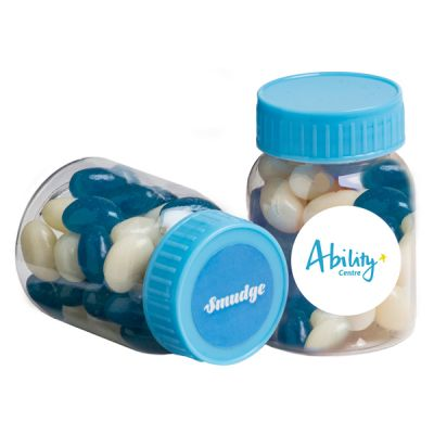 CC066A Jelly Bean (Mixed Or Corporate Colours) Filled Branded Pill Jars - 50g
