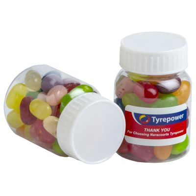 CC066G Jelly Belly Jelly Bean (Mixed Colours) Filled Branded Pill Jars - 50g