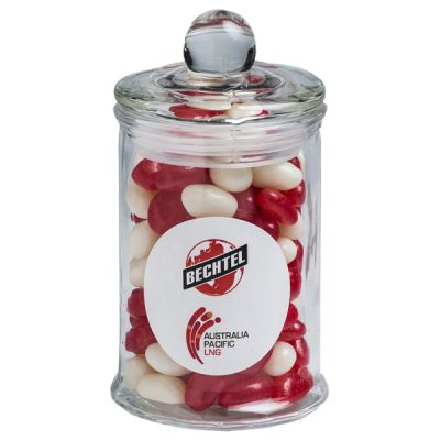 CC067A Jelly Bean (Mixed Or Corporate Colours) Filled Glass Corporate Jars - 115g