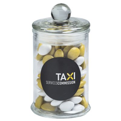 CC067C2 Small Smarties Look-Alike (Mixed Colours) Filled Glass Custom Jars - 115g