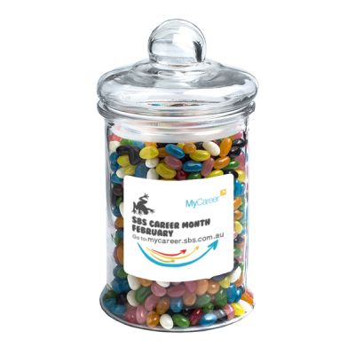 CC068A2 Jelly Bean (Mixed Or Corporate Colours) Filled Glass Corporate Jars - 1.2Kg