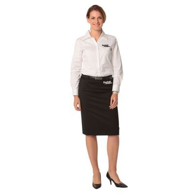 M9471 Mid Length Poly/Viscose Pencil Embroidered Skirts With Stretch