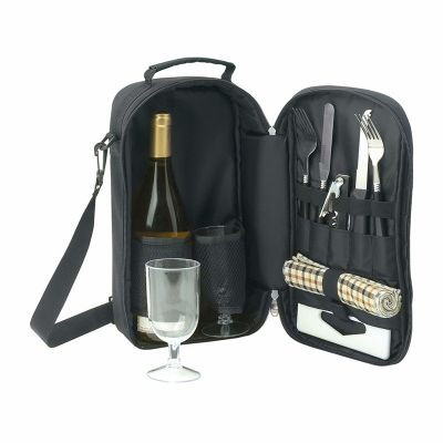 D572 2 Tone Material Trim Branded Wine Carriers Set