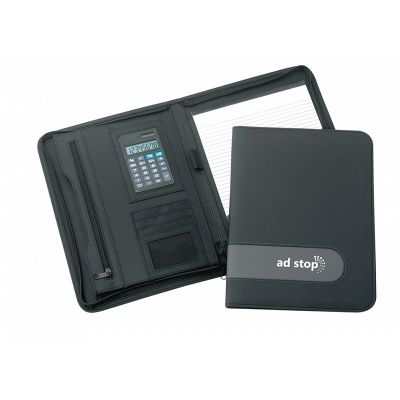 D876 Delta Zippered A4 Promotional Leather Business Compendiums