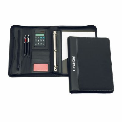 D963 Brighton 3 Ring Zippered Promotional Synthetic Business Compendiums