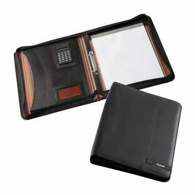 D995 Madrid A4 Zippered Logo Synthetic Business Compendiums With Calculator