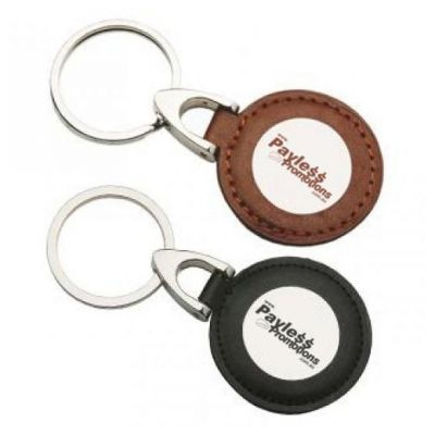 K52 Circular Personalised Leather Keyrings With Gift Box