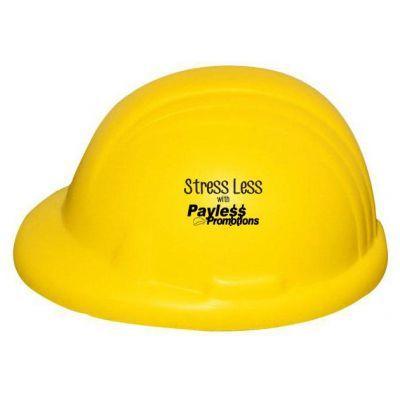 S46 Hard Hat Yellow Printed Trades Stress Balls