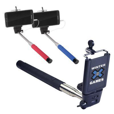 T386 87cm Extendable Custom Selfie Sticks With Adjustable Phone Holder