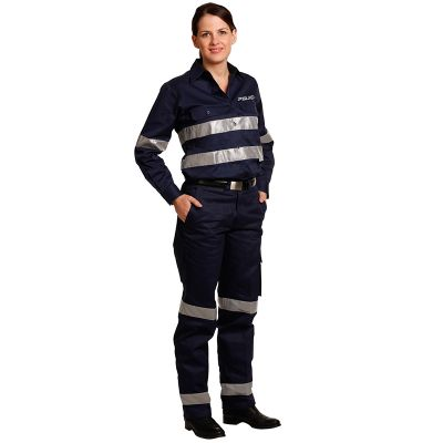 WP15HV Ladies Cotton Drill Cargo Personalised Work Pants With 3M Reflective Tape
