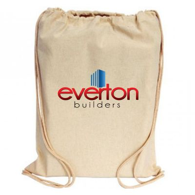 B12 Standard Printed Calico Bags With Drawstrings