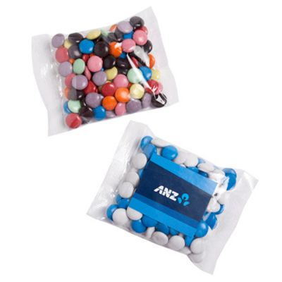 CC017C5 Smarties Look-Alike (Corporate Colours) Filled Promo Lolly Bags With Sticker - 100g