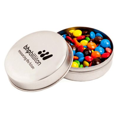 CC046E2 M&M (Mixed Colours) Filled Candle Tins With Sticker - 50g