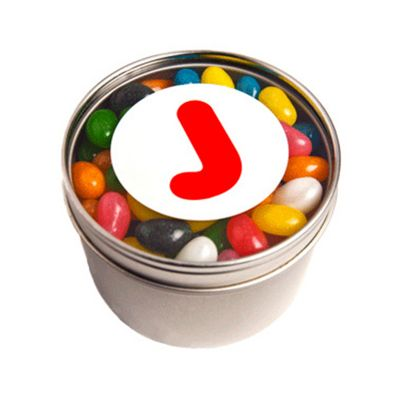CC049A2 Jelly Bean (Mixed Or Corporate Colours) Filled Window-Top Tins With Sticker - 150g