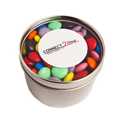 CC049C6 Small Smarties Look-Alike (Corporate Colours) Filled Window-Top Tins With Sticker - 150g