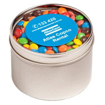 CC049E2 M&M (Mixed Colours) Filled Window-Top Tins With Sticker - 140g