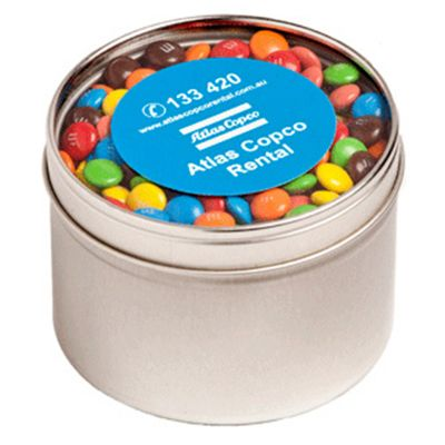 CC049E3 M&M (Mixed Colours) Filled Window-Top Tins - 140g