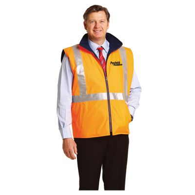 SW37 Reversible Branded Hi Visibility Polar Fleece Vest With X-Back 3M Reflective Tape