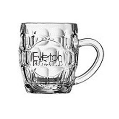 GLBM15706 285ml Britania Dimple Printed Glass Beer Mugs With Print Panel