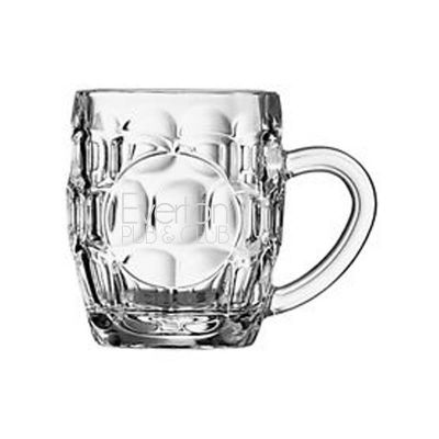 GLBMD6799 570ml Britannia Dimple Promotional Glass Beer Mugs With Print Panel