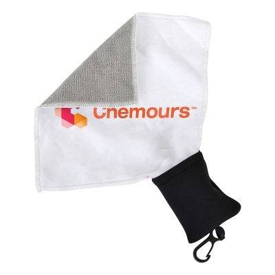 H900 Mid-Size Custom Micro Fiber Cloths With Attached Carry Pouch (140 x 140mm)