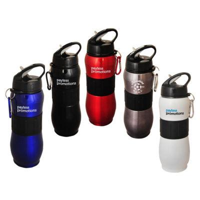 JM014 Single Wall Branded Metal Drink Bottles With Carabiner - 830ml