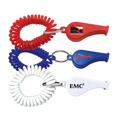 K246 Plastic Promotional Whistles With Elastic Coil