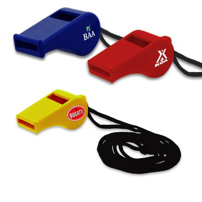 K295 Plastic Branded Whistles With 457mm Lanyard