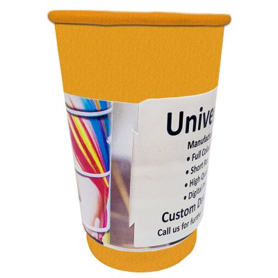 KR12-WR1 355ml Single Wall Kraft Unbranded Cardboard Coffee Cups With 90mm Lid - Digital Printed Wrap