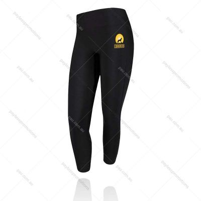 L5-L (7/8 Length) Black Leggings With Full Colour Transfer - Ladies Compression Pants