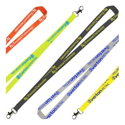 LANPOLY15 Printed 15mm Flat Polyester Lanyards With Attachment (Stock Colours)