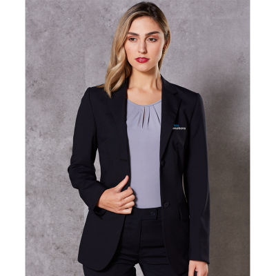 M9200 Ladies Wool Blend Two Button Logo Suit Jackets With Stretch