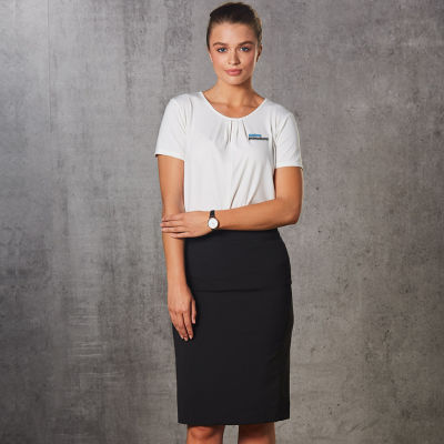 M9472 Mid Length Fine-Stripe Poly/Viscose Pencil Embroidered Skirts With Stretch