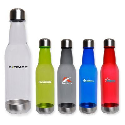 NP136 Long Neck Branded Plastic Drink Bottles With Stainless Steel Cap And Base - 700ml
