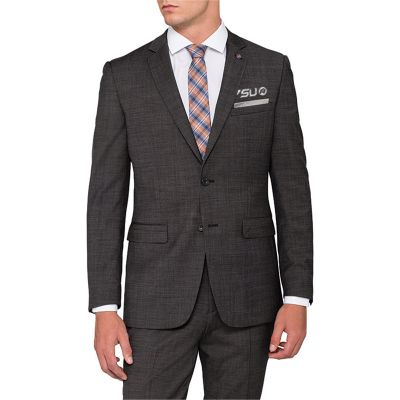 PJ920 Pierre Cardin Charcoal Wool Rich Embroidered Suit Jackets
