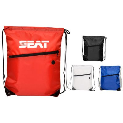 RB1009 Tech Embroidered Backpacks With Zipped Front Pocket And Drawstrings
